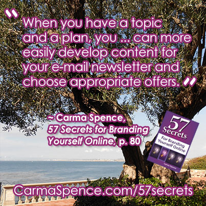 When you have a topic and a plan, you ... can more easily develop content for your e-mail newsletter and choose appropriate offers.