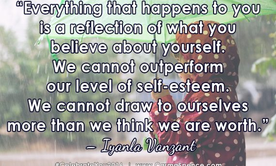 Everything that happens to you is a reflection of what you believe about yourself. We cannot outperform our level of self-esteem. We cannot draw to ourselves more than we think we are worth. ? Iyanla Vanzant