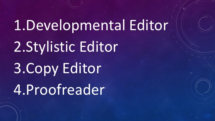 1. Developmental Editor. 2. Stylistic Editor. 3. Copy Editor. 4. Proofreader.